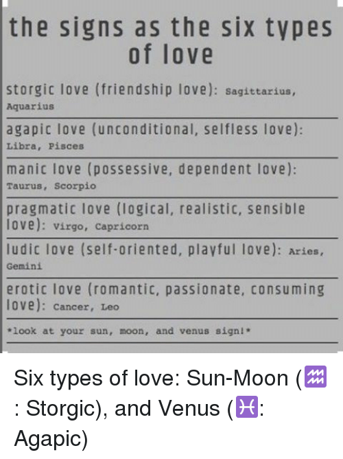 The Signs as the Six Types of Love Storgic Love Friendship
