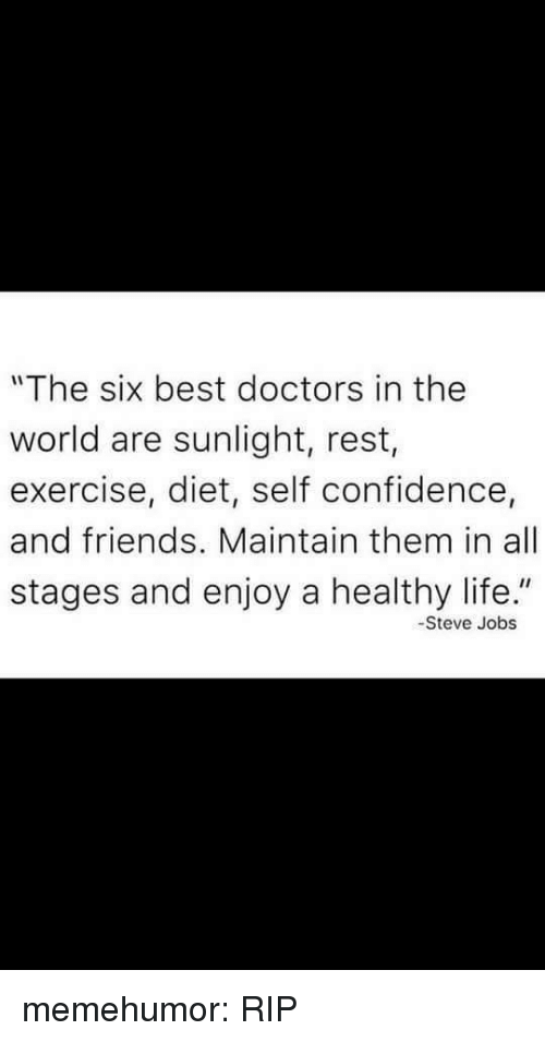 "Confidence, Friends, and Life: ""The six best doctors in the  world are sunlight, rest,  exercise, diet, self confidence,  and friends. Maintain them in all  stages and enjoy a healthy life.""  -Steve Jobs memehumor:  RIP"