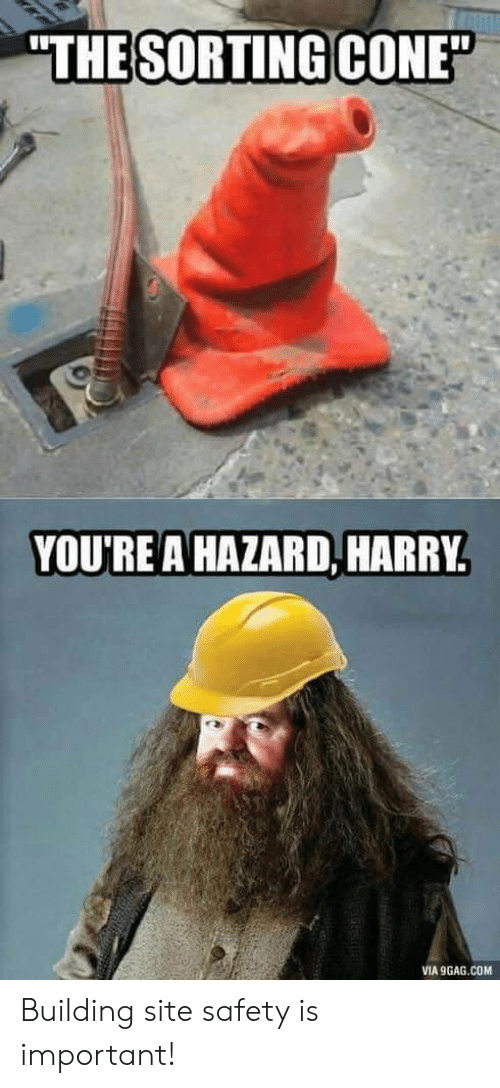 "9gag, Com, and Site: ""THE SORTING CONE""  YOU'REA HAZARD, HARRY  VIA 9GAG.COM Building site safety is important!"