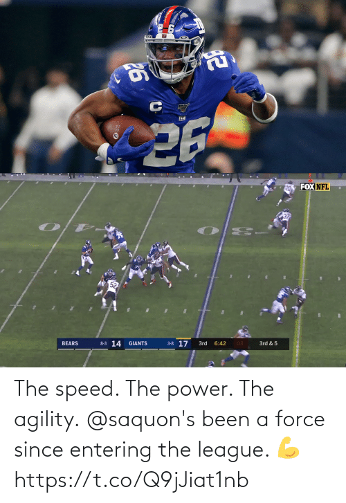 force: The speed. The power. The agility.  @saquon's been a force since entering the league. 💪 https://t.co/Q9jJiat1nb