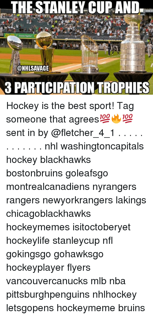Blackhawks, Hockey, and Memes: THE STANLEY CUP AND  @NHLSAVAGE  3 PARTICIPATIONTROPHIES Hockey is the best sport! Tag someone that agrees💯🔥💯sent in by @fletcher_4_1 . . . . . . . . . . . . nhl washingtoncapitals hockey blackhawks bostonbruins goleafsgo montrealcanadiens nyrangers rangers newyorkrangers lakings chicagoblackhawks hockeymemes isitoctoberyet hockeylife stanleycup nfl gokingsgo gohawksgo hockeyplayer flyers vancouvercanucks mlb nba pittsburghpenguins nhlhockey letsgopens hockeymeme bruins