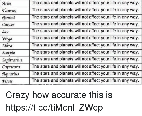 Crazy, Funny, and Life: The stars and planets will not affect your life in any way.  Taurus The stars and planets will not affect your life in any way.  The stars and planets will not affect your life in any way.  The stars and planets will not affect your life in any way.  The stars and planets will not affect your life in any way  The stars and planets will not affect your life in any way.  The stars and planets will not affect your life in any way.  The stars and planets will not affect your life in any way.  SagittariusThe stars and planets will not affect your life in any way  The stars and planets will not affect your life in any way.  rius The stars and planets will not affect your life in any way.  The stars and planets will not affect your life in any way.  Aries  GemintThe stars and planet  Cancer  Leo  Vírgo  Libra  Scorpio  Capricorn  Pisces Crazy how accurate this is https://t.co/tiMcnHZWcp