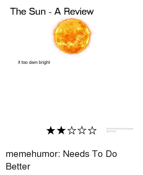 Tumblr, Blog, and Http: The Sun - A Review  it too dam bright  @welcometomymemepage  @wtmmp memehumor:  Needs To Do Better