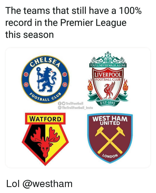Being Alone, Anaconda, and Club: The teams that still have a 100%  record in the Premier League  this season  ELS  0  YOU'LL NEVER WALK ALONE  LIVERPOOL  FOOTBALL CLUB  BALL  EST-189  TrollFootball  @TheTrollFootbal insta  WATFORD  WEST HAM  UNITED  LONDON Lol @westham