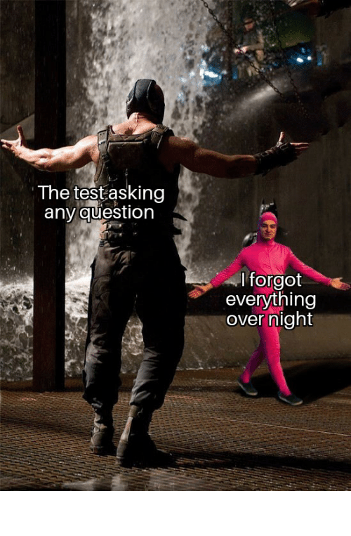Reddit, Test, and Time: The test asking  any question  I forgot  everything  over night Me every time