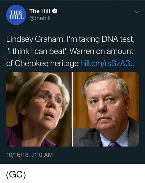 """Memes, Test, and 🤖: THE The Hill  HILL @thehill  Lindsey Graham: I'm taking DNA test,  """"I think I can beat"""" Warren on amount  of Cherokee heritage hill.cm/rsBzA3u  10/16/18, 7:10 AM (GC)"""