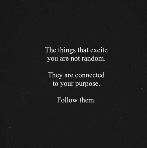 Connected, Excite, and Random: The things that excite  you are not random  They are connected  to your purpose.  Follow them