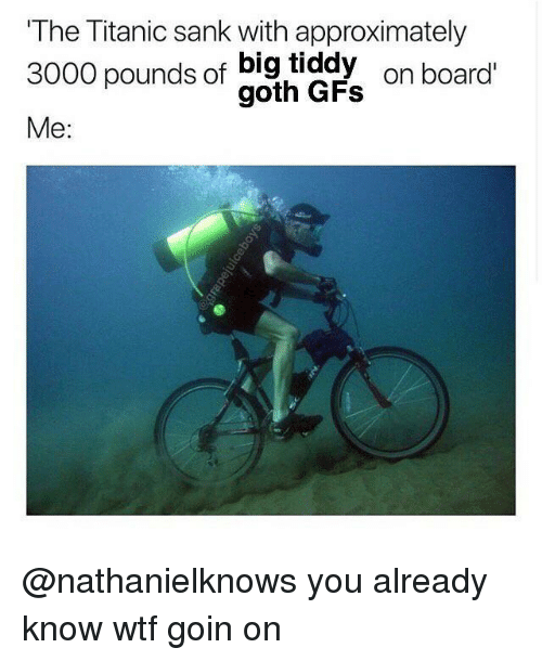 gad: The Titanic sank with approximately  3000 pounds of big tiddy  3000 pounds of gad  on board  Me: @nathanielknows you already know wtf goin on