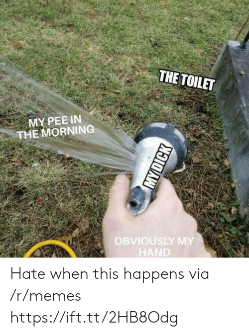 When This Happens: THE TOILET  MY PEE IN  THE MORNING  OBVIOUSLY MY  HAND Hate when this happens via /r/memes https://ift.tt/2HB8Odg