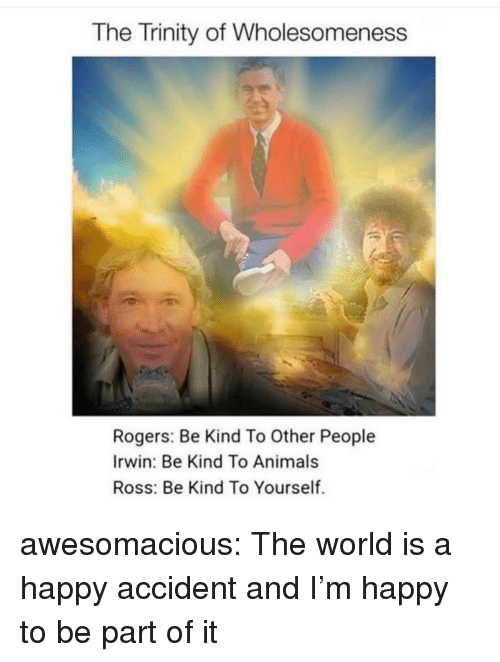 Animals, Tumblr, and Blog: The Trinity of Wholesomeness  Rogers: Be Kind To Other People  Irwin: Be Kind To Animals  Ross: Be Kind To Yourself. awesomacious:  The world is a happy accident and I'm happy to be part of it