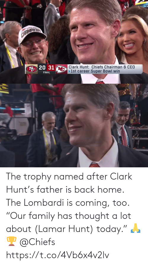 "Is Coming: The trophy named after Clark Hunt's father is back home. The Lombardi is coming, too.  ""Our family has thought a lot about (Lamar Hunt) today."" 🙏🏆 @Chiefs https://t.co/4Vb6x4v2lv"