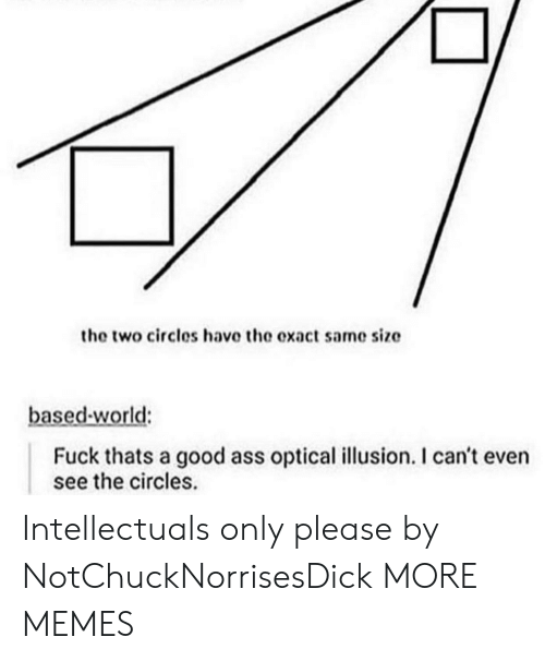 Optical Illusion: the two circles have the exact same size  based-world:  Fuck thats a good ass optical illusion. I can't even  see the circles. Intellectuals only please by NotChuckNorrisesDick MORE MEMES