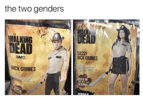 Sassy, Grimes, and Amc: the two genders  DEAD  THE  WALKING  SASSY  RICK GRIMES  aMc  RICK GRIMES  ASED ON  HE HIT  V SERIES  AD