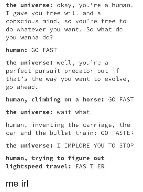 free will: the universe: okay, you're a human.  I gave you free will and a  conscious mind, so you're free to  do whatever you want. So what do  you wanna do?  human: GO FAST  the universe: well, you're a  perfect pursuit predator but if  that's the way you want to evolve,  go ahead.  human, climbing on a horse: GO FAST  the universe: wait what  human, inventing the carriage, the  car and the bullet train: GO FASTER  the universe: I IMPLORE YOU TO STOP  human, trying to figure out  lightspeed travel: FAS T ER me irl