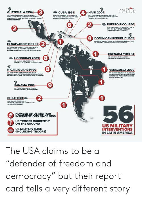 "story: The USA claims to be a ""defender of freedom and democracy"" but their report card tells a very different story"