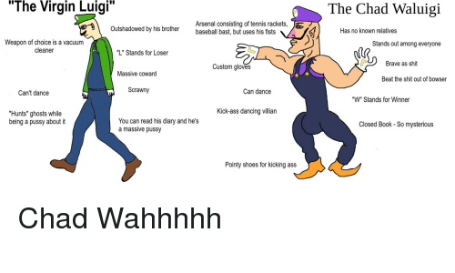 """Arsenal, Ass, and Baseball: """"The  Virgin  Luigi  The Chad Waluigi  Arsenal consisting of tennis rackets,  baseball bast, but uses his fists  Outshadowed by his brother  Has no known relatives  Weapon of choice is a vacuum  cleaner  Stands out among everyone  """"L"""" Stands for Loser  Brave as shit  Custom gloves  Massive coward  Beat the shit out of bowser  Can't dance  Scrawny  Can dance  """"W"""" Stands for Winner  Kick-ass dancing villian  """"Hunts"""" ghosts while  being a pussy about it  You can read his diary and he's  a massive pussy  Closed Book - So mysterious  Pointy shoes for kicking ass Chad Wahhhhh"""