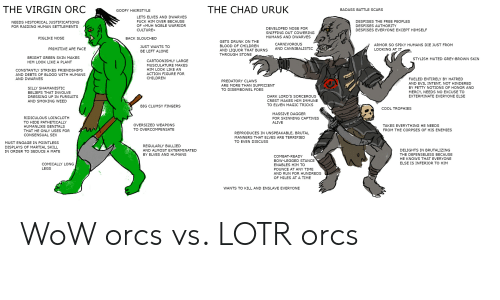 Alive, Being Alone, and Children: THE VIRGIN ORC  THE CHAD URUK  BADASS BATTLE SCARS  GOOFY HAIRSTYLE  LETS ELVES AND DWARVES  FUCK HIM OVER BECAUSE  DESPISES THE FREE PEOPLES  NEEDS HISTORICAL JUSTIFICATIONS  OF «MUH NOBLE WARRIOR  DESPISES AUTHORITY  FOR RAIDING HUMAN SETTLEMENTS  DEVELOPED NOSE FOR  CULTURE  DESPISES EVERYONE EXCEPT HIMSELF  SNIFFING OUT COWERING  HUMANS AND DWARVES  PIGLIKE NOSE  BACK SLOUCHED  GETS DRUNK ON THE  CARNIVOROUS  ARMOR SO SPIKY HUMANS DIE JUST FROM  BLOOD OF CHILDREN  JUST WANTS TO  AND CANNIBALISTIC  PRIMITIVE APE FACE  LOOKING AT IT  AND LIQUOR THAT BURNS  BE LEFT ALONE  THROUGH STONE  BRIGHT GREEN SKIN MAKES  STYLISH MUTED GREY-BROWN SKIN  CARTOONISHLY LARGE  HIM LOOK LIKE A PLANT  MUSCULATURE MAKES  HIM LOOK LIKE AN  CONSTANTLY STRIKES FRIENDSHIPS  ACTION FIGURE FOR  AND DEBTS OF BLOOD WITH HUMANS  CHILDREN  AND DWARVES  FUELED ENTIRELY BY HATRED  PREDATORY CLAWS  AND EVIL INTENT, NOT HINDERED  BY PETTY NOTIONS OF HONOR AND  ARE MORE THAN SUFFICIENT  SILLY SHAMANISTIC  TO DISEMBOWEL FOES  MERCY, NEEDS NO EXCUSE TO  BELIEFS THAT INVOLVE  DARK LORD'S SORCEROUS  EXTERMINATE EVERYONE ELSE  DRESSING UP IN FURSUITS  CREST MAKES HIM IMMUNE  AND SMOKING WEED  TO ELVEN MAGIC TRICKS  BIG CLUMSY FINGERS  COOL TROPHIES  MASSIVE DAGGER  RIDICULOUS LOINCLOTH  FOR SKINNING CAPTIVES  TO HIDE PATHETICALLY  ALIVE  OVERSIZED WEAPONS  TAKES EVERYTHING HE NEEDS  HUMANLIKE GENITALS  TO OVERCOMPENSATE  FROM THE CORPSES OF HIS ENEMIES  THAT HE ONLY USES FOR  REPRODUCES IN UNSPEAKABLE, BRUTAL  CONSENSUAL SEX  MANNERS THAT ELVES ARE TERRIFIED  TO EVEN DISCUSS  MUST ENGAGE IN POINTLESS  REGULARLY BULLIED  DISPLAYS OF MARTIAL SKILL  DELIGHTS IN BRUTALIZING  AND ALMOST EXTERMINATED  IN ORDER TO SEDUCE A MATE  BY ELVES AND HUMANS  THE DEFENSELESS BECAUSE  COMBAT-READY  HE KNOWS THAT EVERYONE  BOW-LEGGED STANCE  ELSE IS INFERIOR TO HIM  COMICALLY LONG  ENABLES HIM TO  LEGS  POUNCE AT ANY TIME  AND RUN FOR HUNDREDS  OF MILES AT A TIME  WANTS TO KILL AND ENSLAV