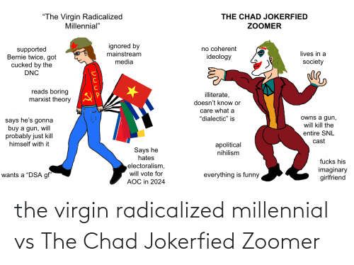 radicalized: the virgin radicalized millennial vs The Chad Jokerfied Zoomer