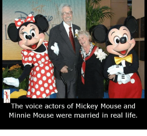 mickey-mouse-and-minnie-mouse: The voice actors of Mickey Mouse and  Minnie Mouse were married in real life.