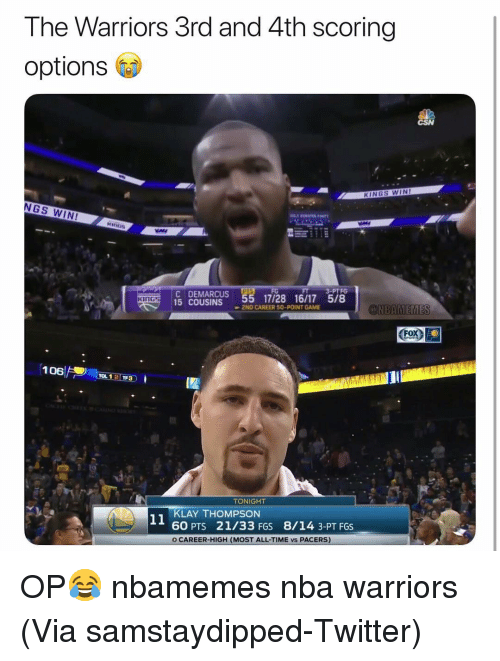 Basketball, Klay Thompson, and Nba: The Warriors 3rd and 4th scoring  options  KINGS WIN!  NGS WIN  EMARCUS 55 17728 16/17 5/8  3-PTFG  KiNGs  15 COUSINS  ONBAMEMES  2ND CAREER 50-POINT GAME  FoX)  TONIGHT  KLAY THOMPSON  60 PTS 21/33 FGS 8/14 3-PT FGS  O CAREER-HIGH (MOST ALL-TIME vs PACERS) OP😂 nbamemes nba warriors (Via ‪samstaydipped‬-Twitter)