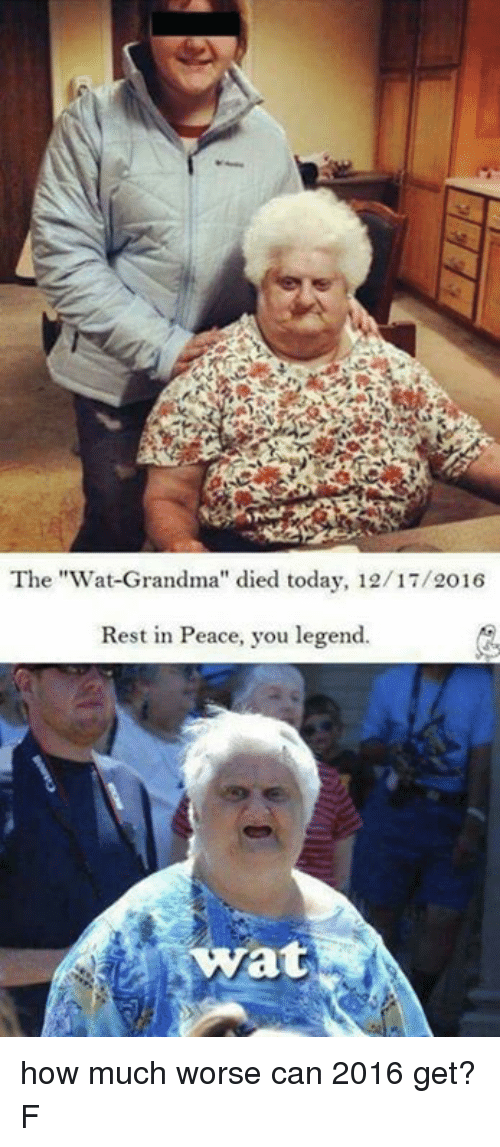 """Wat Grandma: The """"Wat Grandma"""" died today, 12/17/2016  Rest in Peace, you legend.  wat how much worse can 2016 get? F"""