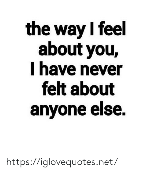 the way: the way I feel  about you,  I have never  felt about  anyone else. https://iglovequotes.net/