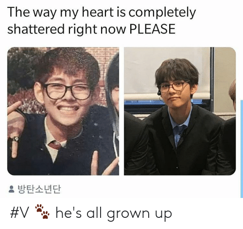 Heart, All Grown Up, and All: The way my heart is completely  shattered right now PLEASE  방탄소년단 #V 🐾 he's all grown up