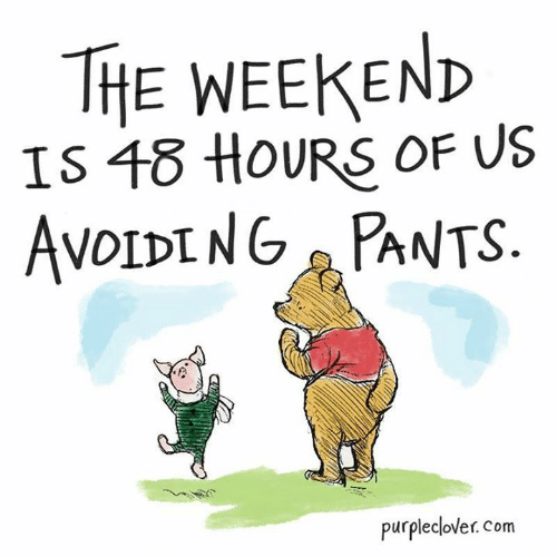 Memes, The Weekend, and 🤖: THE WEEKEND  IS 18 HOURS OF US  AvoIDING PANTS  purpleclover. com
