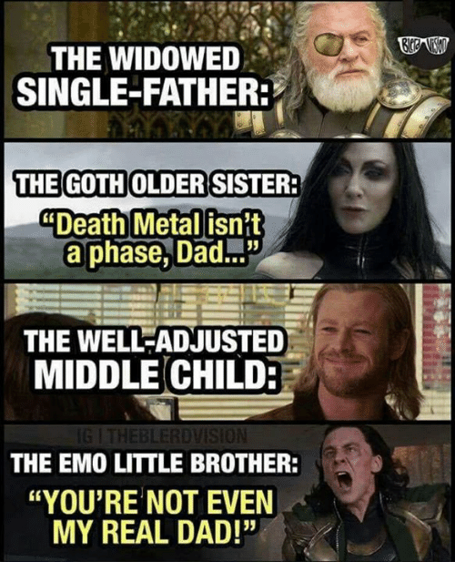 """Dad, Emo, and Memes: THE WIDOWED  SINGLE-FATHER  THE GOTH OLDERISISTER  Death Metal isnit  a phase, Dad...""""  THE WELL-ADJUSTED  MIDDLE CHILD:  BLERDVISİON  THE EMO LITTLE BROTHER:  """"YOU'RE NOT EVEN  MY REAL DAD!"""""""