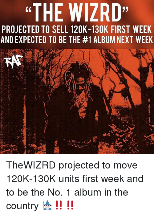 "Memes, 🤖, and Next: ""THE WIZRD  (0  PROJECTED TO SELL 120K-130K FIRST WEEK  AND EXPECTED TO BE THE #1 ALBUM NEXT WEEK TheWIZRD projected to move 120K-130K units first week and to be the No. 1 album in the country 🧙‍♂️‼️‼️"