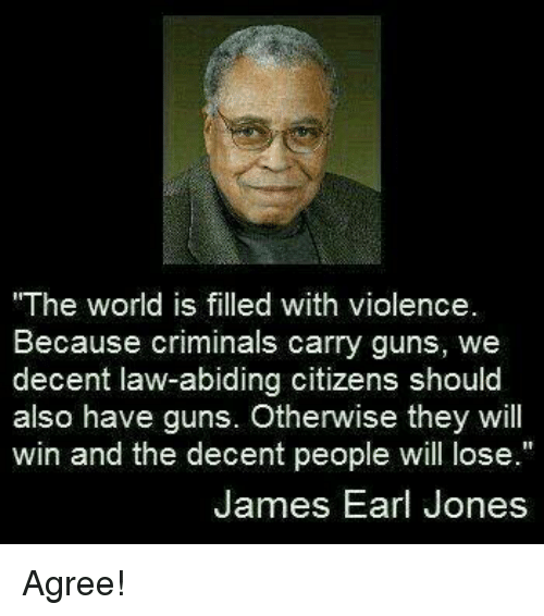 """Guns, Memes, and World: The world is filled with violence.  Because criminals carry guns, we  decent law-abiding citizens should  also have guns. Otherwise they will  win and the decent people will lose.""""  James Earl Jones Agree!"""