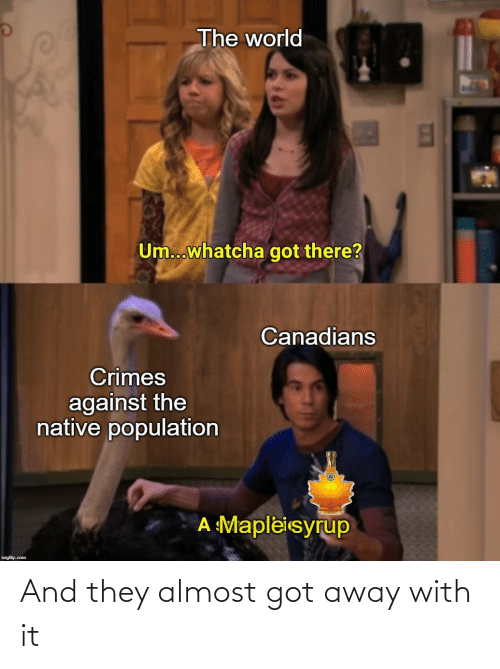 Canadians: The world  Um...whatcha got there?  Canadians  Crimes  against the  native population  A Mapleisyrup  imgflip.com And they almost got away with it