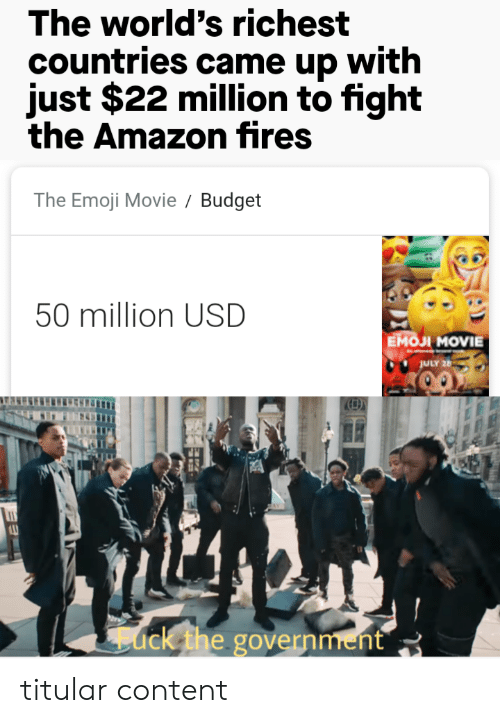 Amazon, Emoji, and Budget: The world's richest  countries came up with  just $22 million to fight  the Amazon fires  The Emoji Movie  Budget  50 million USD  Емол MOVIE  JULY 26  ack the government titular content