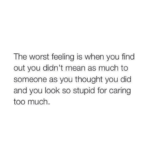 The Worst, Too Much, and Mean: The worst feeling is when you find  out you didn't mean as much to  someone as you thought you did  and you look so stupid for caring  too much.