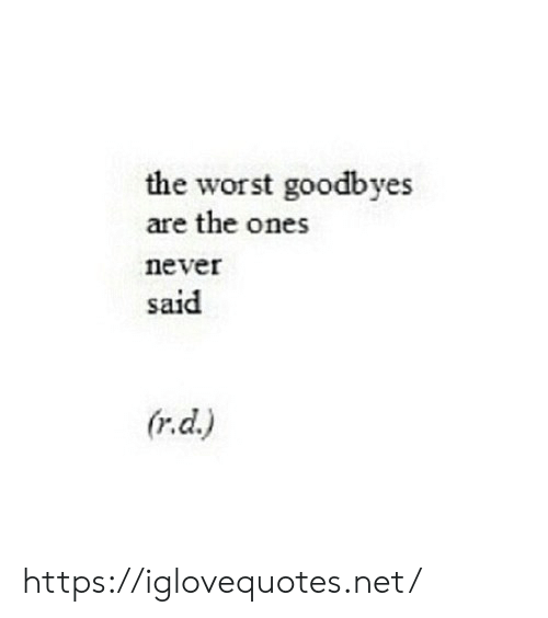 The Worst, Never, and Net: the worst goodbyes  are the ones  never  said  (r.d.) https://iglovequotes.net/