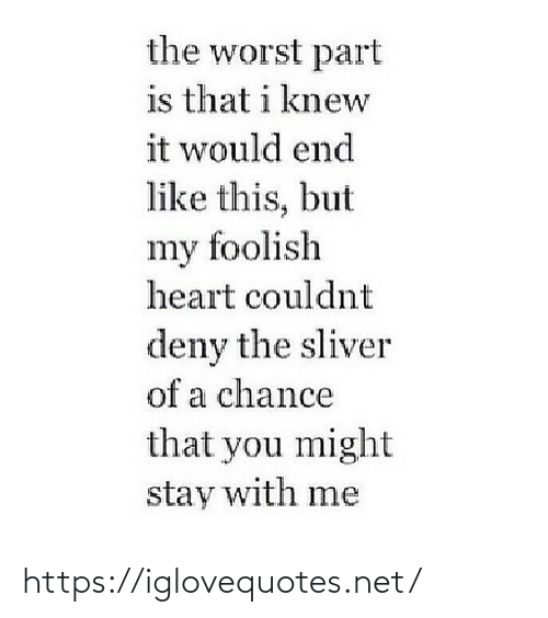 might: the worst part  is that i knew  it would end  like this, but  my foolish  heart couldnt  deny the sliver  of a chance  that you might  stay with me https://iglovequotes.net/