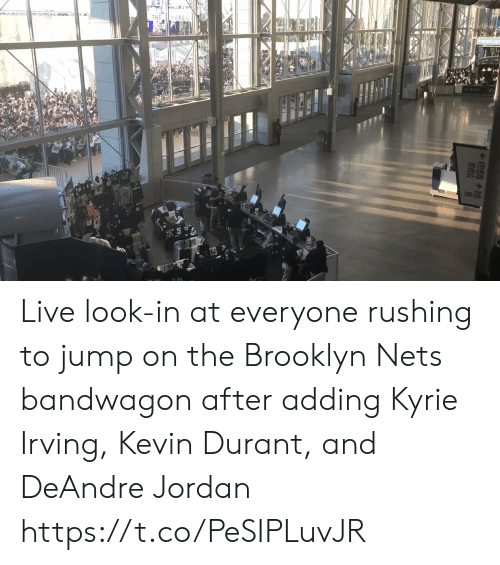 kyrie: THE Y SEEn  126-129  226-23  327-330  220 Live look-in at everyone rushing to jump on the Brooklyn Nets bandwagon  after adding Kyrie Irving, Kevin Durant, and DeAndre Jordan https://t.co/PeSIPLuvJR