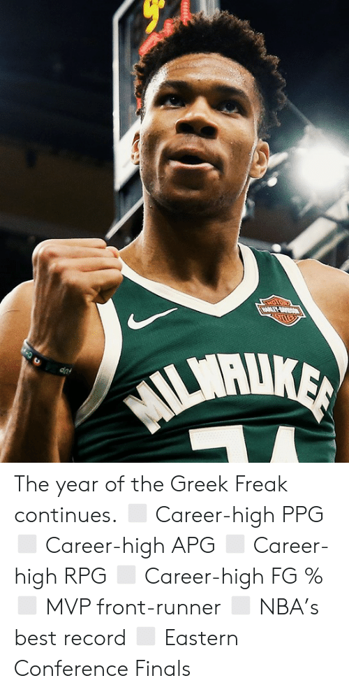 ballmemes.com: The year of the Greek Freak continues.  ◻️ Career-high PPG ◻️ Career-high APG ◻️ Career-high RPG ◻️ Career-high FG % ◻️ MVP front-runner ◻️ NBA's best record ◻️ Eastern Conference Finals