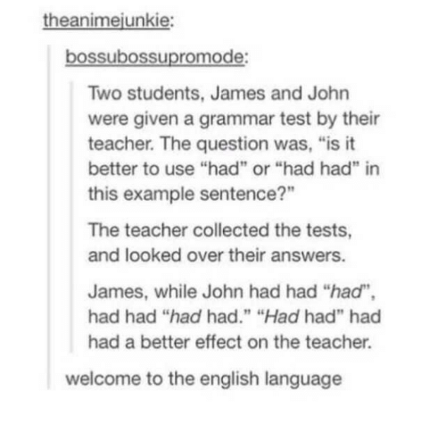 "students: theanimejunkie:  bossubossupromode:  Two students, James and John  were given a grammar test by their  teacher. The question was, ""is it  better to use ""had"" or ""had had"" in  this example sentence?""  The teacher collected the tests,  and looked over their answers.  James, while John had had ""had"",  had had ""had had."" ""Had had"" had  had a better effect on the teacher.  welcome to the english language"