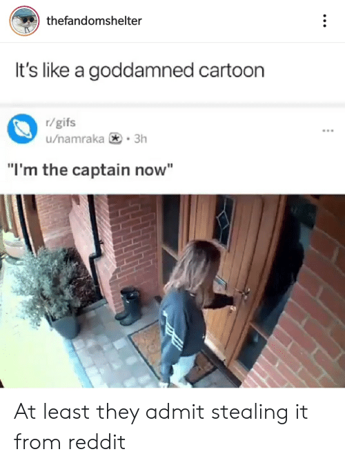 "Reddit, Cartoon, and Gifs: thefandomshelter  It's like a goddamned cartoon  r/gifs  u/namraka 3h  ""I'm the captain now"" At least they admit stealing it from reddit"