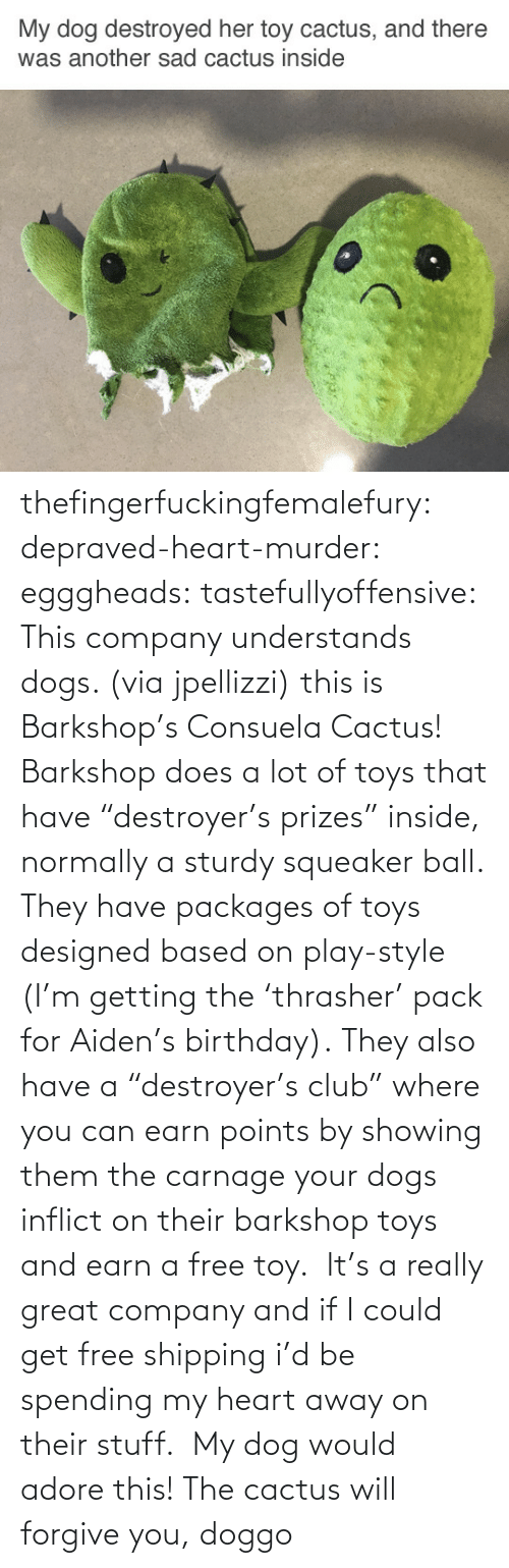 "play: thefingerfuckingfemalefury:  depraved-heart-murder:  egggheads:  tastefullyoffensive: This company understands dogs. (via jpellizzi) this is Barkshop's Consuela Cactus! Barkshop does a lot of toys that have ""destroyer's prizes"" inside, normally a sturdy squeaker ball. They have packages of toys designed based on play-style (I'm getting the 'thrasher' pack for Aiden's birthday). They also have a ""destroyer's club"" where you can earn points by showing them the carnage your dogs inflict on their barkshop toys and earn a free toy.  It's a really great company and if I could get free shipping i'd be spending my heart away on their stuff.   My dog would adore this!  The cactus will forgive you, doggo"
