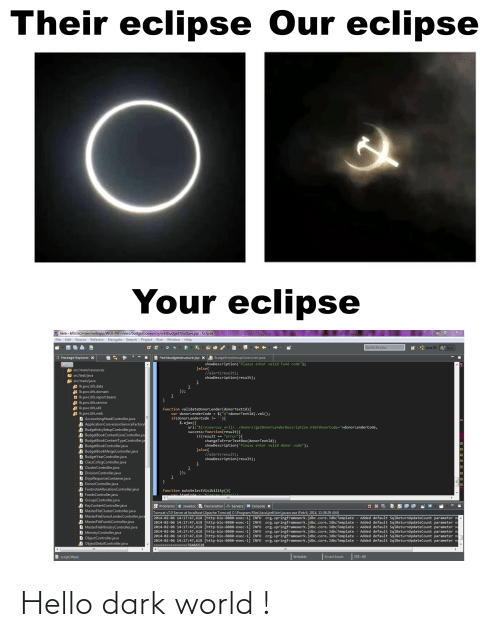 """Refactor: Their eclipse Our eclipse  Your eclipse  O Java - bfs/src/main/webapp/WEB-INF/views/budgetbookentry/editbudgetstructure.jsp - Eclipse  File Edit Source Refactor Navigate Search Project Run Window Help  Quick Access  Java EE Java  I Package Explorer X  E *editbudgetstructure.jsp XD BudgeEntrySetupController.java  showDescription(""""Please enter valid fund code"""");  }else{  //alert(result);  showDescription(result);  E src/main/resources  E src/test/java  A src/main/java  I Ik.pwc.bfs.data  A Ik.pwc.bfs.domain  H Ik.pwc.bfs.report.beans  Ik.pwc.bfs.service  I Ik.pwc.bfs.util  I Ik.pwc.bfs.web  D AccountingHeadController.java  A ApplicationConversionServiceFactory  D BudgeEntrySetupController.java  D BudgetBookContentLineController.jav  D BudgetBookContentTypeController.ja  A BudgetBookController.java  A BudgetBookMergeController.java  D BudgetYearController.java  D ClassCofogController.java  D ClusterController.java  D DivisionController.java  D DojoResponseContainer.java  D DonorController.java  A FootnoteAllocationController.java  D FundsController.java  D GroupsController.java  A KeyContentController.java  D MasterFileClusterController.java  D MasterFileDonorLenderController.java  A MasterFileFundsController.java  D MasterFileMinistryController.java  D MinistryController.java  D ObjectController.java  D ObjectDetailController.java  });  function validateDonorLender(donorTextId){  var donorLenderCode = $(""""#""""+donorTextId).val();  if(donorLenderCode != ''){  $.ajax({  url:""""${resources_url}/../donors/getDonorLenderDescription.htm?donorCode=""""+donorLenderCode,  success:function(result){  if(result == """"error""""){  changeToErrorTextBox(donorTextId);  showDescription(""""Please enter valid donor code"""");  }else{  //alert(result);  showDescription(result);  });  }  IA  function autoSelectVisibility(){  var itemCode  itemc)'.  A Problems @ Javadoc e Declaration  Servers e cConsole X  Tomcat v7.0 Server at localhost [Apache Tomcat] C:\Program Files\Java\jre6\bin\javaw.exe (Fe"""