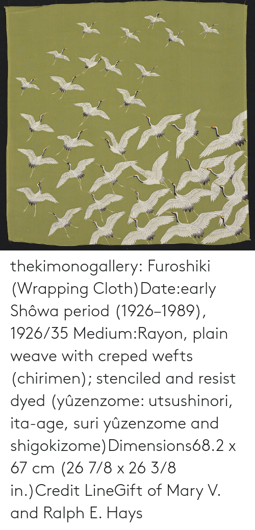 medium: thekimonogallery: Furoshiki (Wrapping Cloth)Date:early Shôwa period (1926–1989), 1926/35 Medium:Rayon, plain weave with creped wefts (chirimen); stenciled and resist dyed (yûzenzome: utsushinori, ita-age, suri yûzenzome and shigokizome)Dimensions68.2 x 67 cm (26 7/8 x 26 3/8 in.)Credit LineGift of Mary V. and Ralph E. Hays
