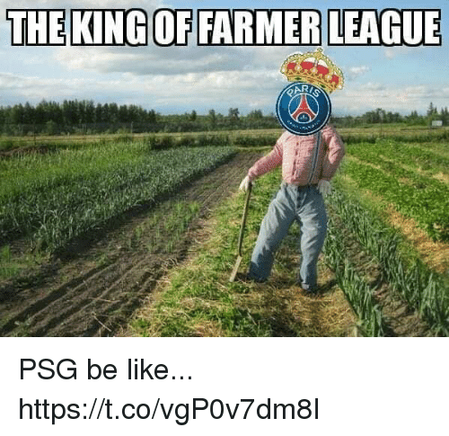 Be Like, Memes, and 🤖: THEKINGOF FARMER LEAGUE PSG be like... https://t.co/vgP0v7dm8I