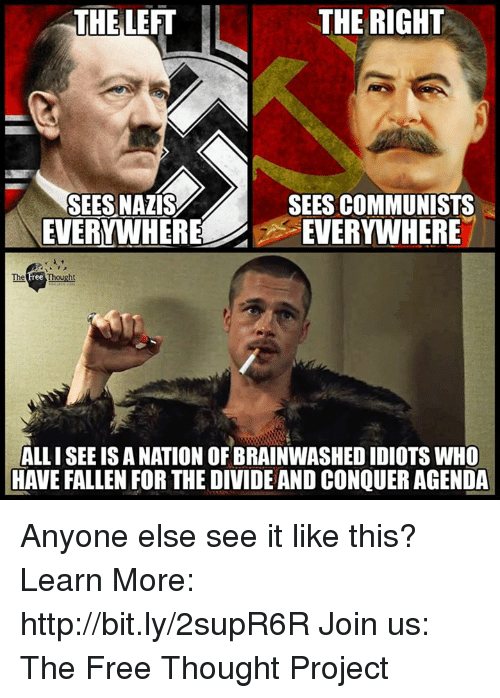 Memes, Free, and Http: THELEFT  THE RIGHT  SEES NAZIS  SEES COMMUNISTS  WHEREEVERYWHERE  The Free Thought  ALL I SEE IS A NATION OF BRAINWASHED IDIOTS WHO  HAVE FALLEN FOR THE DIVIDE AND CONQUER AGENDA Anyone else see it like this?  Learn More: http://bit.ly/2supR6R Join us: The Free Thought Project