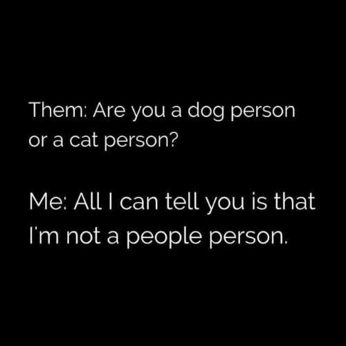 Dank, 🤖, and Dog: Them: Are you a dog person  or a cat person?  Me: All I can tell you is that  I'm not a people person.