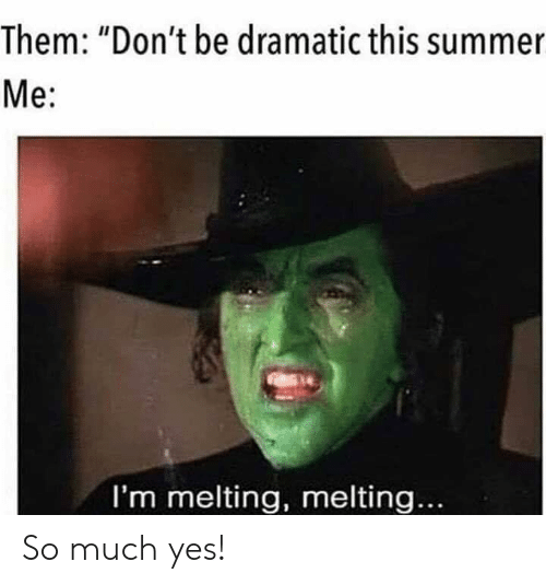 "melting: Them: ""Don't be dramatic this summer  Me:  I'm melting, melting... So much yes!"