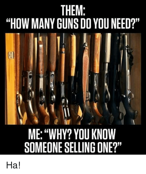 """Guns, Memes, and 🤖: THEM:  """"HOW MANY GUNS DO YOU NEED?""""  ME: """"WHY? YOU KNOW  SOMEONE SELLING ONE?"""" Ha!"""
