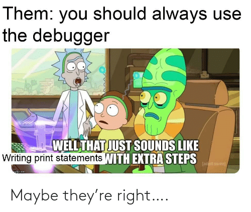 Well That: Them: you should always use  the debugger  WELL THAT JUST SOUNDS LIKE  Writing print statements WITH EXTRA STEPS  [adult swim)  ngfip.com Maybe they're right….