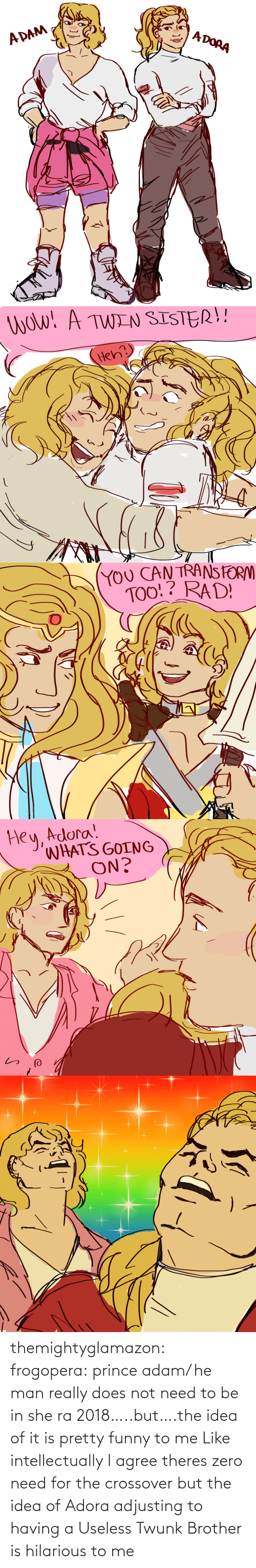 brother: themightyglamazon: frogopera: prince adam/ he man really does not need to be in she ra 2018…..but….the idea of it is pretty funny to me   Like intellectually I agree theres zero need for the crossover but the idea of Adora adjusting to having a Useless Twunk Brother is hilarious to me